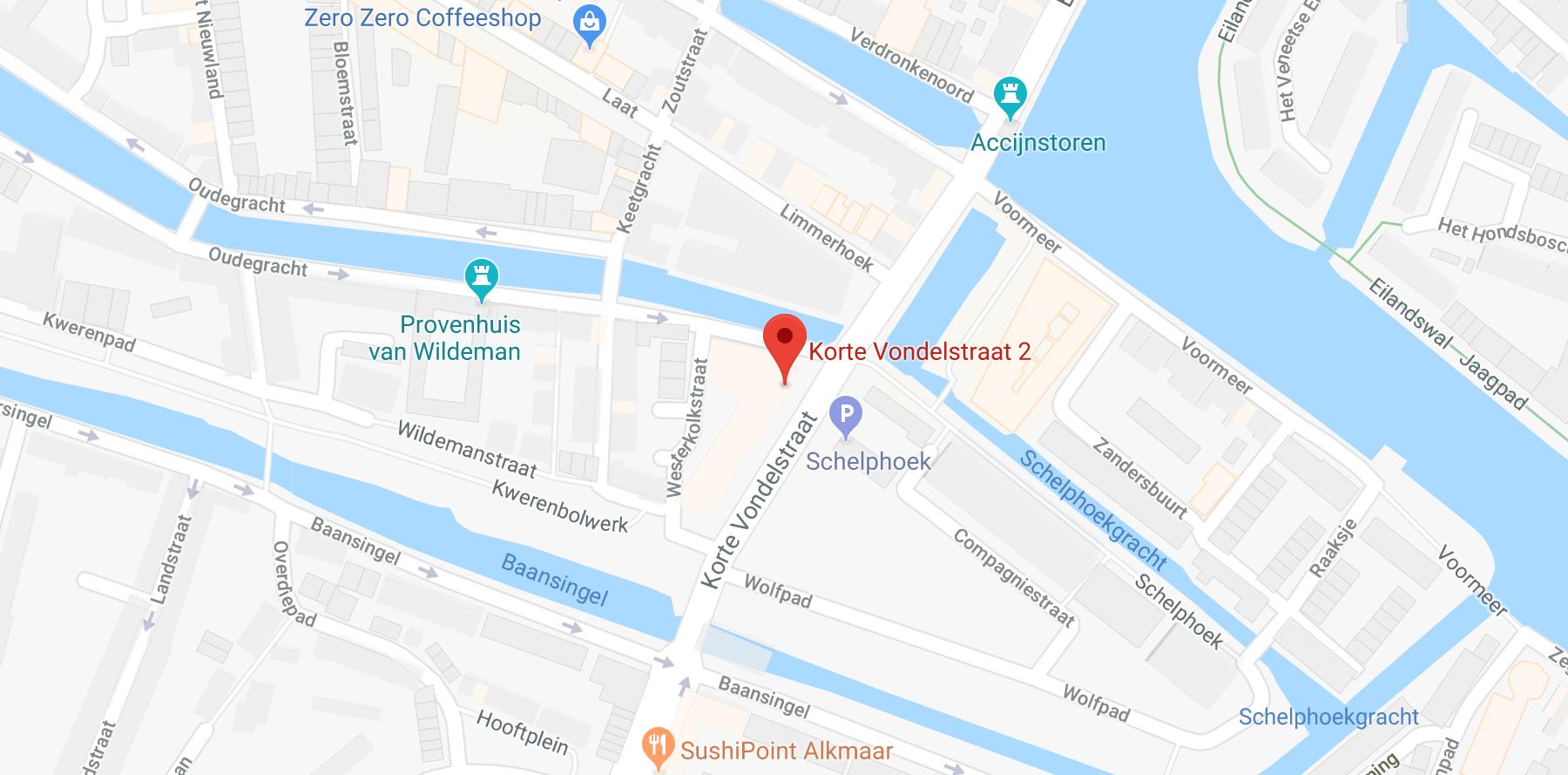 Korte Vondelstraat Alkmaar locatie